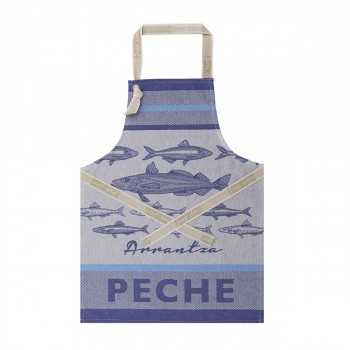 Basque Fish Apron Blue with Grey (Jean Vier)