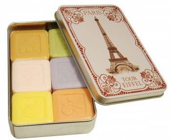 Assorted Soaps with Shea Butter in a Collectors Eiffel Tower Tin (Savon LeBlanc)