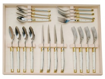 Laguiole Ivory ABS 20 piece silverware set (4 dinner forks , 4 salad forks, 4 knives, 4 Tablespoons, 4 teaspoons) (Jean Dubost)