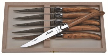 Laguiole Olive Wood Steak Knife Set  6 knives (Jean Dubost)