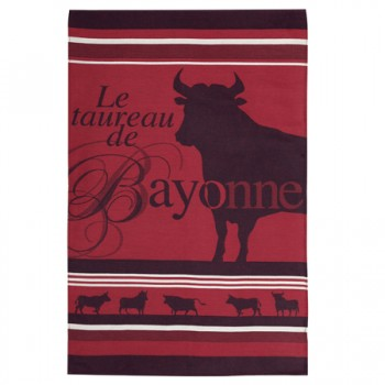 Bull Tea Towel Red and Black (Jean Vier)
