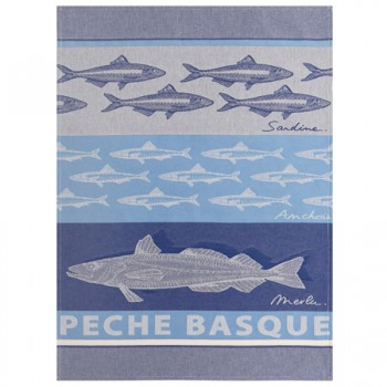 Basque Fish Tea Towel Blue with Grey (Jean Vier)