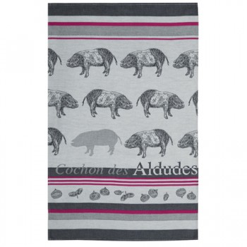 Pig Tea Towel Grey & Red (Jean Vier)
