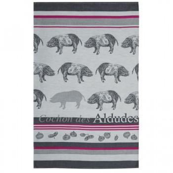 Pig Tea Towel Grey & Red (Jean Vier)